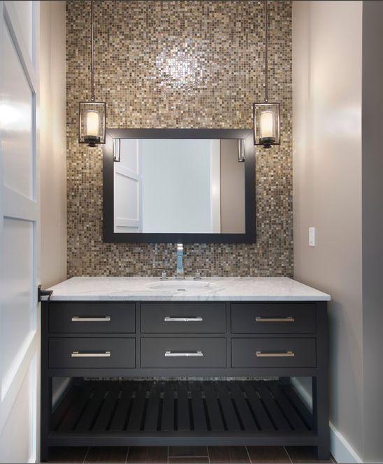 transitional bathroom : tiled wall : light fixtures : color palette : vanity : floor tile
