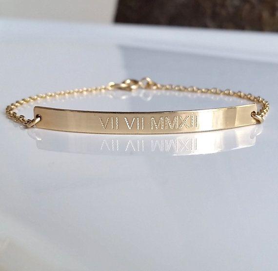Roman Numeral Bracelet Gold Bar Bracelet Personalized