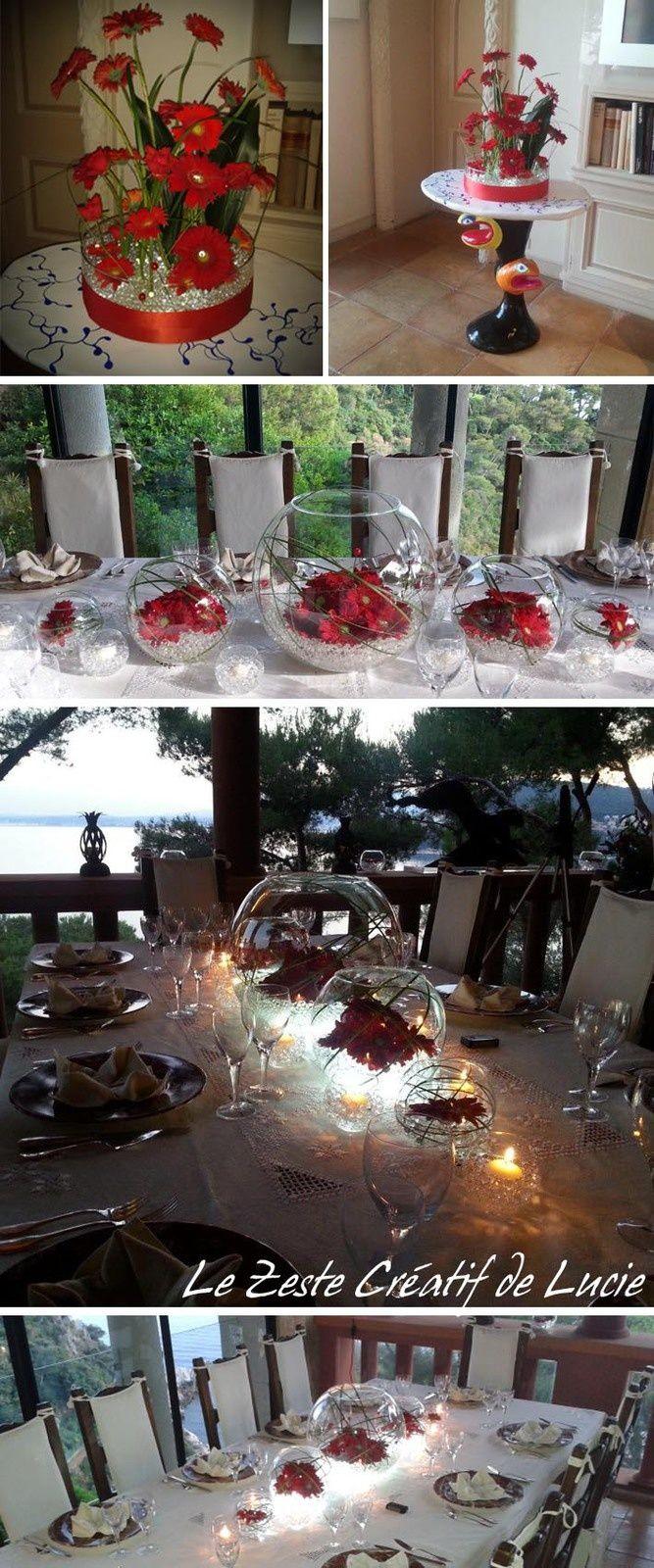 Décoration florale rouge et blanc (gerbera, billes de gel, led blanche et vase boule)