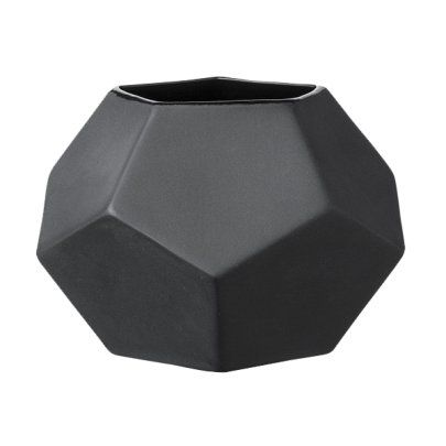 Danish Geometric Matt Black Ceramic Vase- Large | Urban Couture - Designer Homewares & Furniture Online