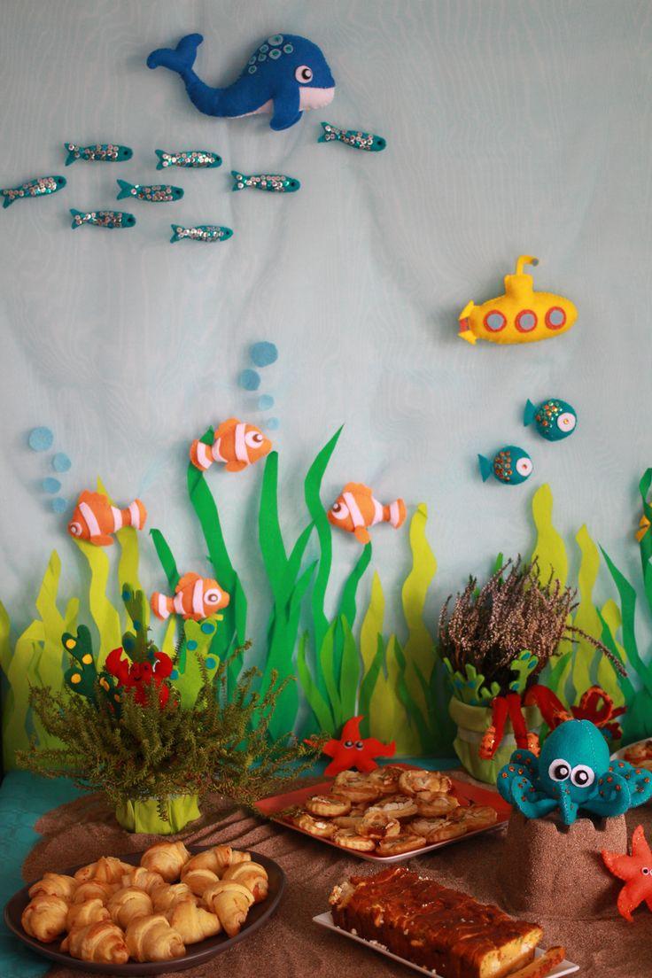 d coration feutrine poissons pieuvre sous marin buffet d 39 anniversaire sur le th me sous l. Black Bedroom Furniture Sets. Home Design Ideas
