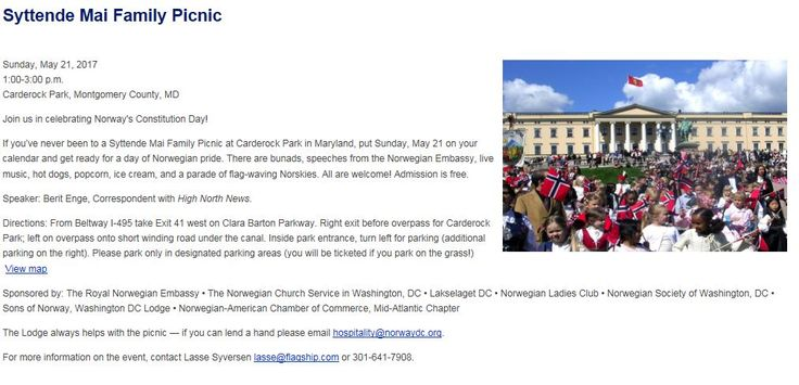 The Washington DC area HUGE picnic will be on Saturday May 20th hosted by a variety of Norwegian groups including the Washington Lodge of Sons of Norway in Fairfax