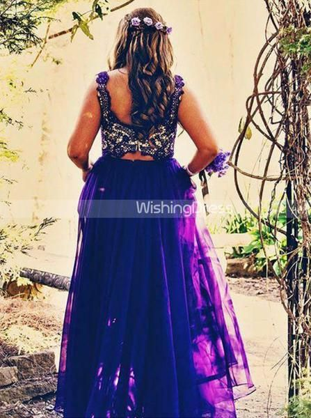 Two Piece Plus Size Prom Dresses,Royal Blue Plus Size Prom Dress,Long Plus Size …