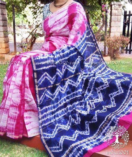 Designer Chanderi Saree with Shibori & Bandhani Patterns