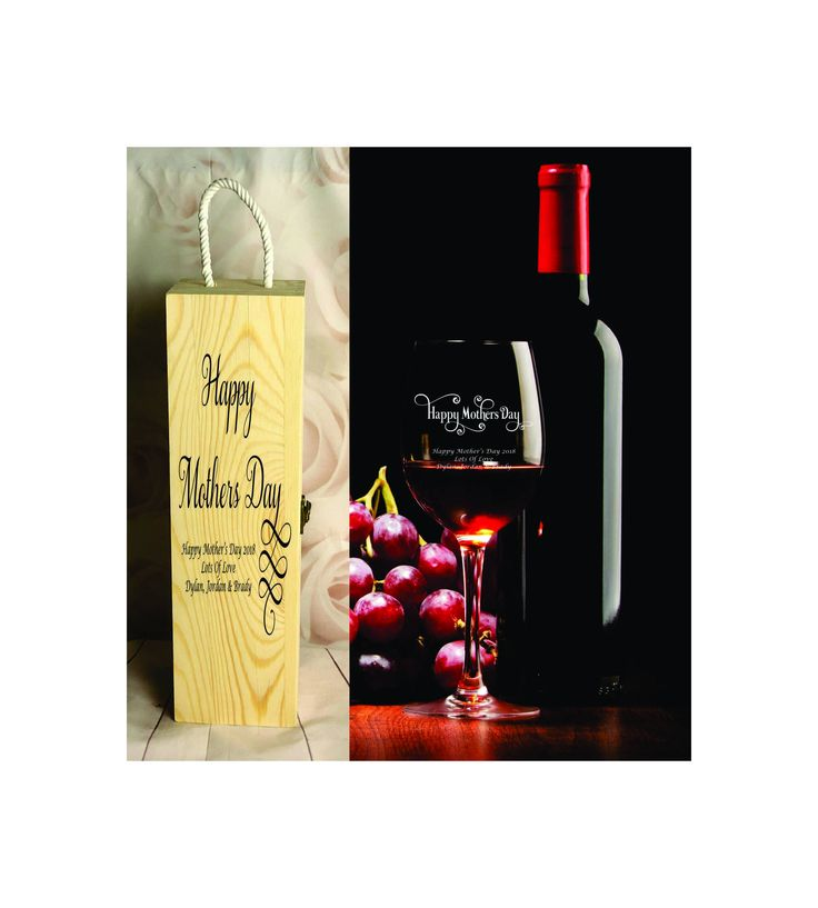 410ml Wine Glass + Wine Gift Box - Personalised Engraved - Mothers Day - Design 3 by SJDesigns78 on Etsy