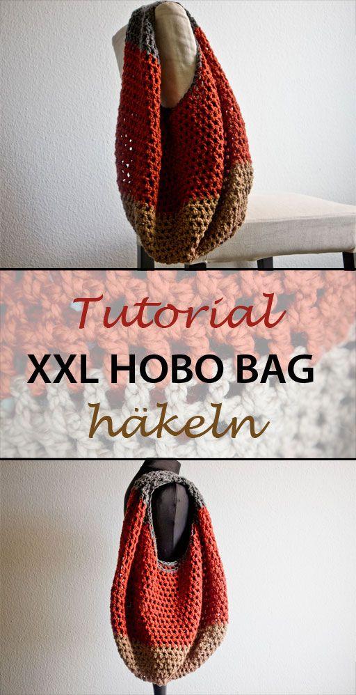 Tutorial: Gestreifte XXL Hobo Tasche häkeln - Striped XXL Hobo Bag - haus of…