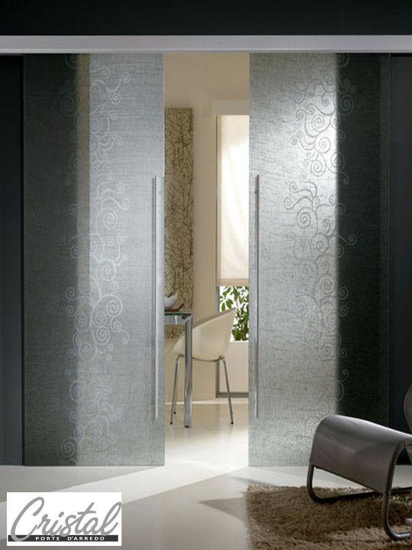 Porta scorrevole esterno muro agor easy binario a scomparsa ghost e vetro stratificato con - Porte con binario esterno ...