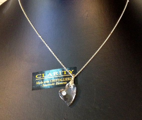 Swarovski Heart Charm Pendant Necklace with Sterling by ClarityGR, €25.00