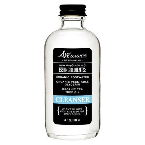 rosewater, glycerin, tea tree (I would only use the tea tree for oily skin)