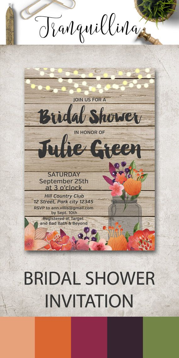 Fall Bridal Shower Invitation Printable, Rustic Bridal Shower Invitation, Autumn Bridal Shower Ideas, Country Mason Jar Bridal Shower Invitations. For more rustic wedding ideas, follow the link: tranquillina.etsy.com