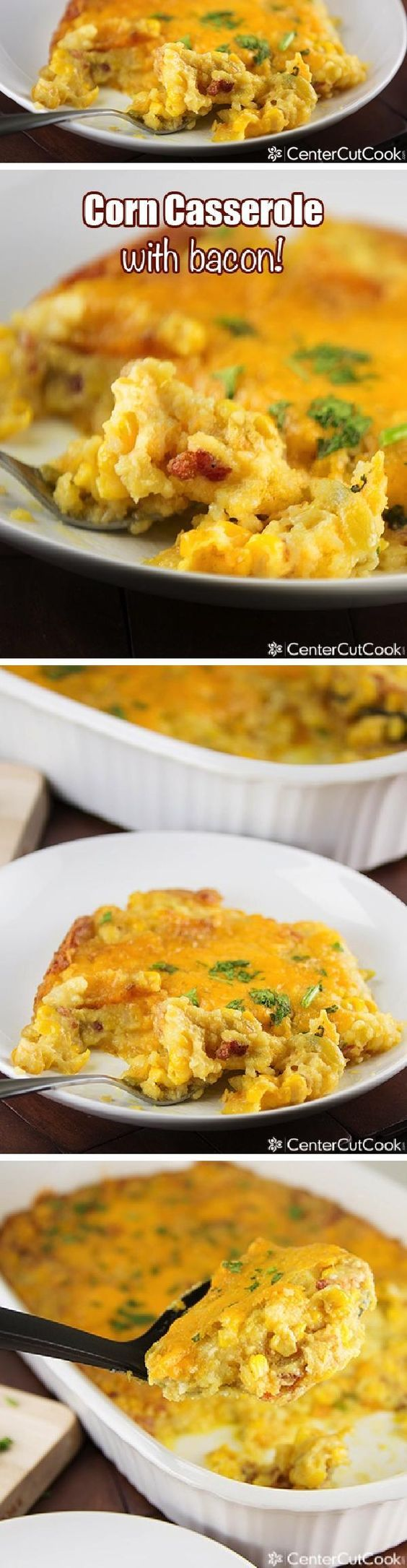 EASY CORN CASSEROLE made with Jiffy mix, cheddar cheese, sour cream, green chiles, a little cream cheese for creaminess and BACON! A savory, comforting side dish that everyone will beg you to make over and over!