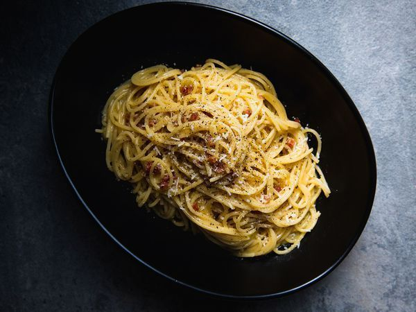 Anchovy paste adds an umami flavor to a simple garlic and butter sauce, perfect tossed with a thin pasta such as spaghetti.