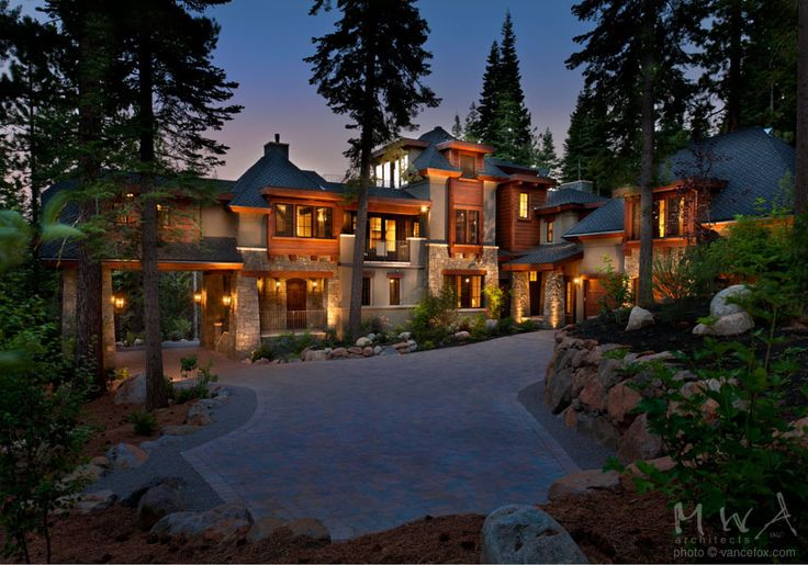 Martis camp mountain alps stucco redwood siding stone for Mountain dream homes