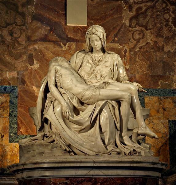 Pieta, 1499 by Michelangelo. High Renaissance. sculpture. St. Peter's Basilica, Vatican