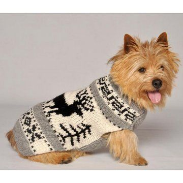 Chilly Dog Reindeer Shawl Dog Sweater - Cream / Gray