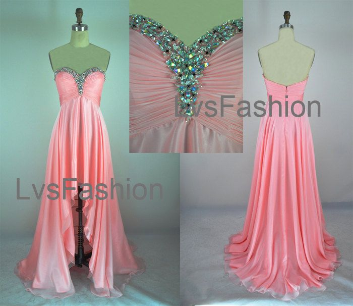 c230dc67755 Strapless Sweetheart With Crystal Front Short Long Back Pink Chiffon High  Low Prom Dresses
