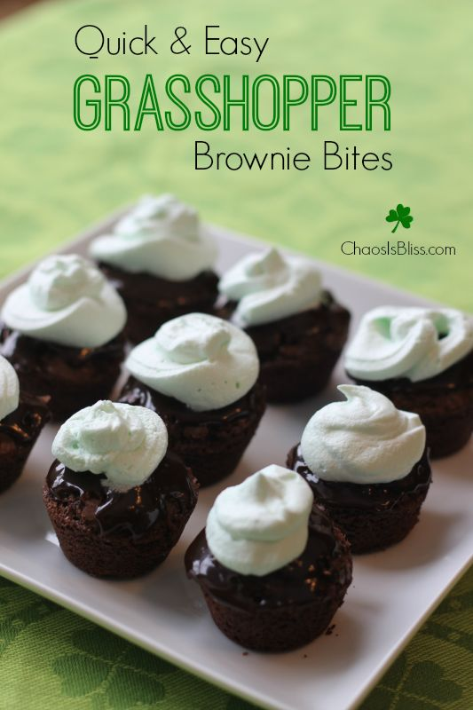Quick and Easy Grasshopper Brownie Bites recipe, a yummy St. Patricks ...