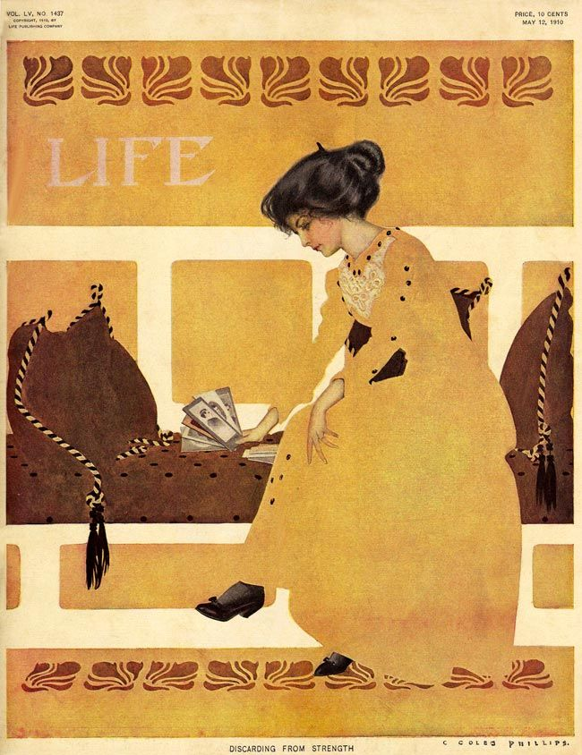 LIFE Magazine, Discarding From Strength (May 12, 1910) Fadeaway Girl by C. Coles…