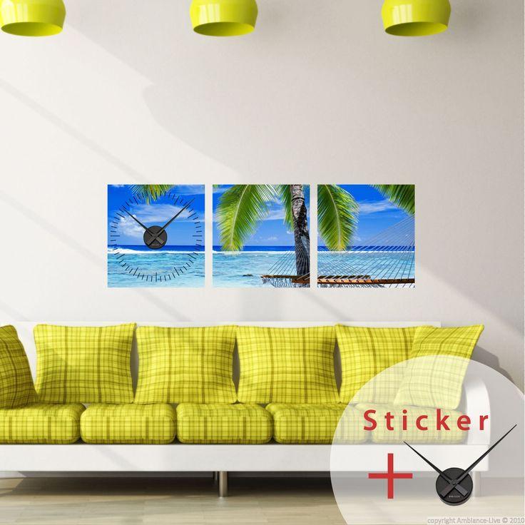 Sticker horloge Ambiance aquatique et tropicale - Stickers STICKERS SPECIAUX Stickers Horloges - ambiance-sticker