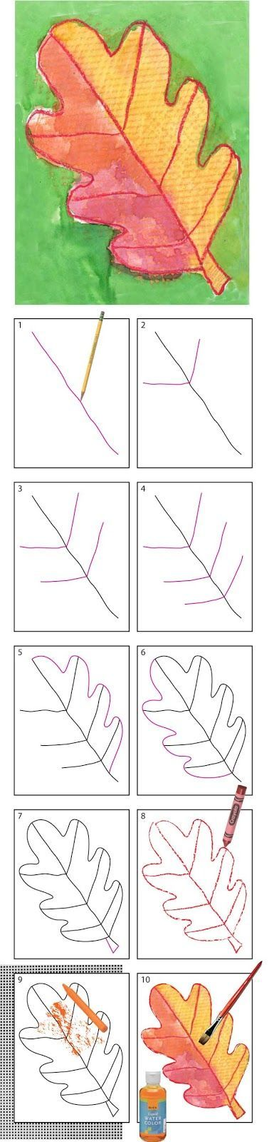 Directed drawing of an autumn leaf ... great follow-up to a nature walk!