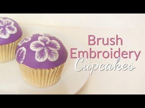 Brush Embroidery Cupcake Tutorial - YouTube