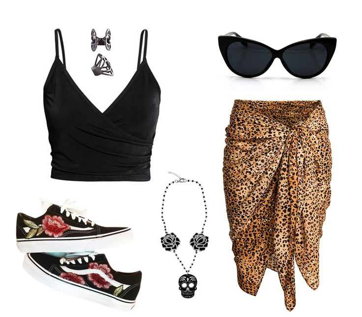 "Pin Up, punk rock inspired summer look, combing a leopard sarong, cat eye sunnies, old school rose vans shoes, sugar skull & roses necklace, black crop top & a ""diamond"" ring! Foxy.....  Sunglasses: www.atomiccherry.com Sarong: www.h&m.com Top: www.h&m.com Shoes: www.vans.com Ring & necklace: www.kiradonjewel.com"