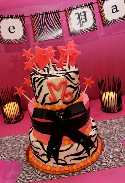 My 11 year old niece said she wanted a zebra themed dance party for her 12th birthday.