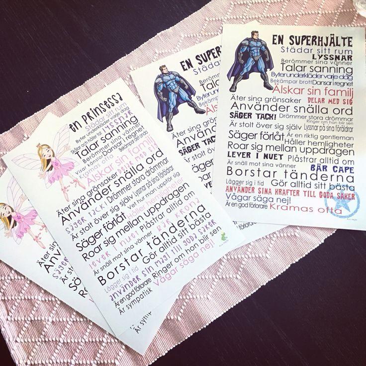 Poster till barnrum att rama in med prinsessa eller superhjälte på.