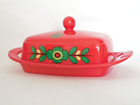 Floral EMSA Plastic Butterdish - Red Midcentury Kitchen Tableware - West German 1970s Mod Flower Power Butter Dish Container