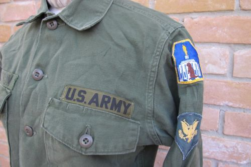 Vintage-EARLY-VIETNAM-US-Army-Named-Shirt-w-RARE-THEATER-MADE-PATCH-Medium
