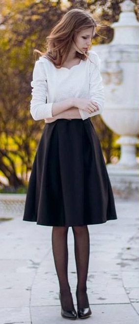Black Midi Skirt Outfit | Fashion Skirts