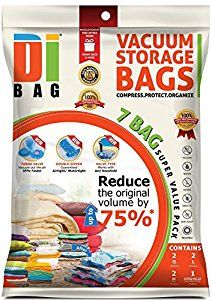 DIBAG ® 7 VACUUM COMPRESSED STORAGE SAVING SPACE SAVER BAGS · 2x medium 57x45 cm, 2x Large 85x54 cm, 2x Extra Large 100x67 cm, 1x Travel (without suction) 57x45 cm