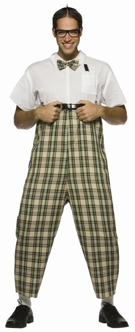 Funny Nerd Halloween Costume - This is a funny classic nerd costume. It is a one piece jumpsuit that Velcro's up the back. The pants are a tan, black and green plaid with some red, yellow and white detail and the shirt has a matching plaid bow-tie attached. It is a white short sleeved collared shirt with a front pocket and pocket protector. To finish off the look is a pair of black lens-less glasses. Belt not included.  #nerd #50s #calgary #mens #costume #yyc #funny