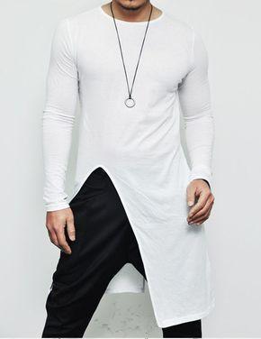 33287ba2d Camisa longline long tail manga longa masculina alongada branca - comprar  online