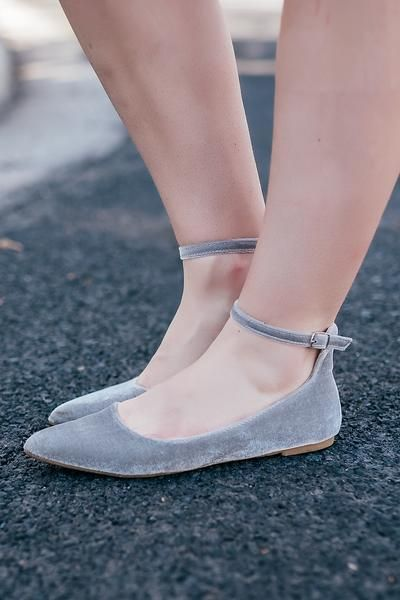 Chic sophistication meets urban cool in these gray velvet ankle-strap flats. Stay on-trend and edgy-feminine when you pair these neutral shoes with every look in your closet! They'll easily become you