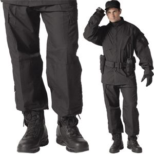 Black - Tactical Style Military ACU Pants (Polyester/Cotton Ripstop)