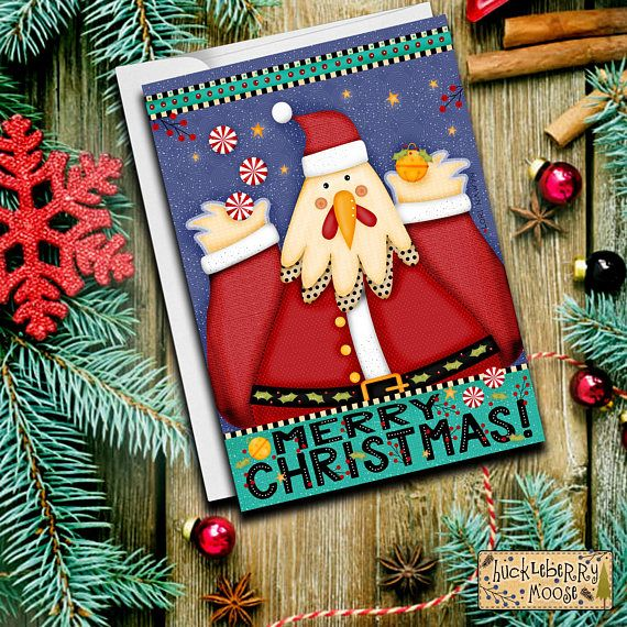Chicken Cards Christmas Cards Santa Animal Cards Christmas