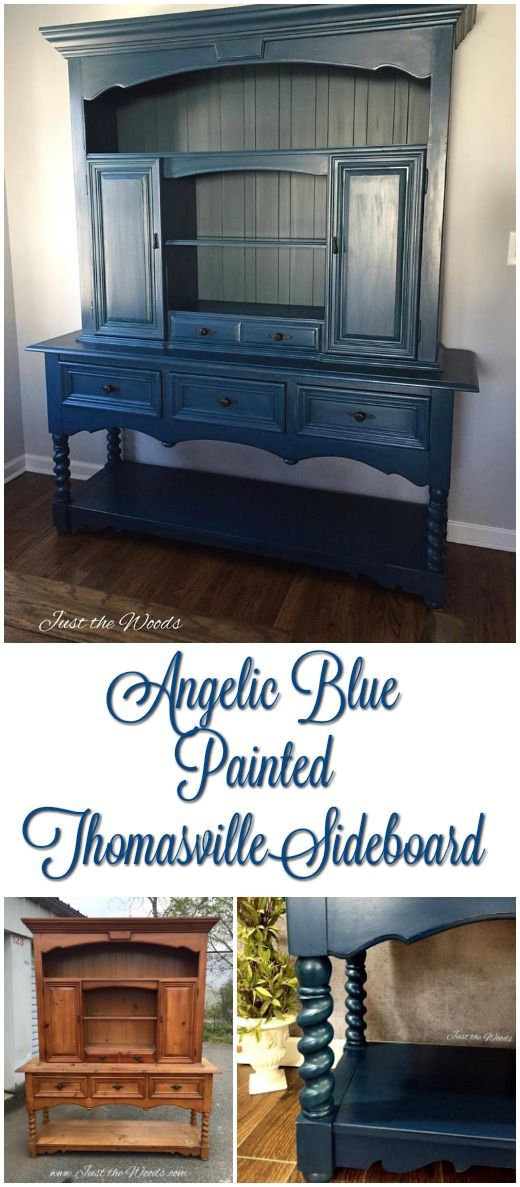 Vintage Thomasville Sideboard painted angelic blue by Just the Woods