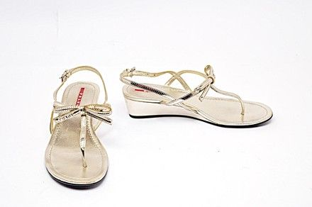 af4fbdd8fbb Prada Silver Platinum Leather Thong Wedge Slingback with Bow Sandals Size  EU 37 (Approx. US 7) Regular (M