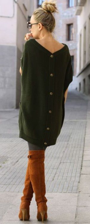 fall-fashion-olive-green-knit-dress-boots