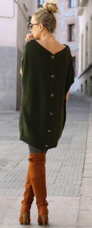 fall-fashion-olive-green-knit-dress-boots