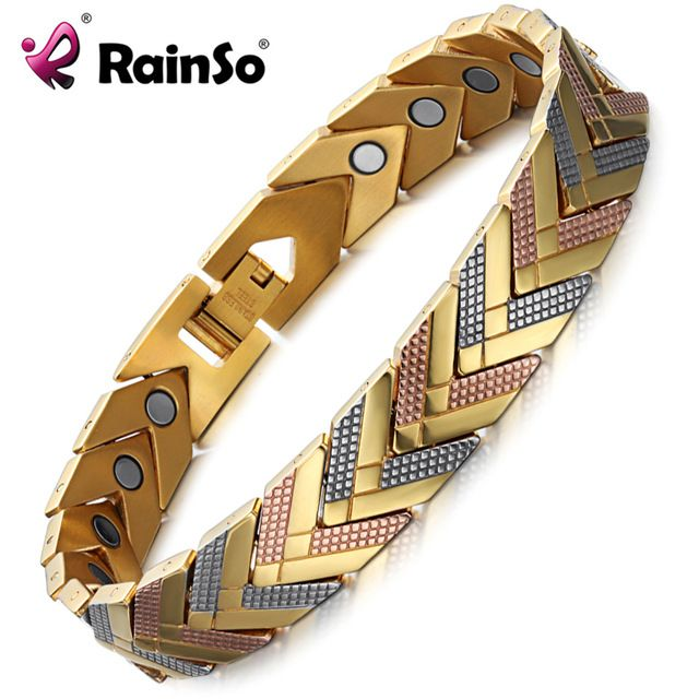 Hot Deals $12.47, Buy Rainso Health Magnetic Bracelet Bangle For Women 2017 Hot Sale Stainless Steel Bio Energy Bracelet Gold Fashion Jewelry