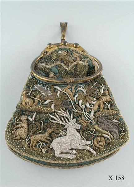 Embroidered Bag. Schwedler.  C.1609  Silk velvet embroidered with silver, freshwater pearls and embroidery