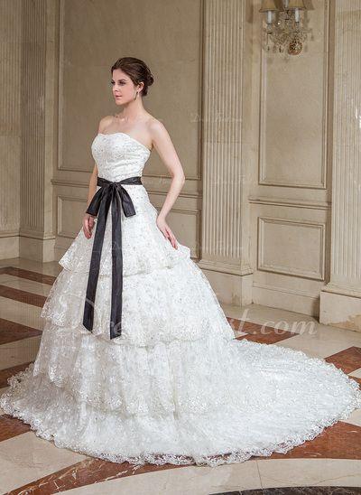 Corte A/Princesa Escote corazón La capilla de tren Satén Encaje Vestido de novia con Fajas Bordado Lentejuelas Lazo(s) (002000170)