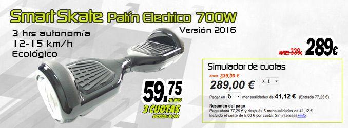 Patín eléctrico Smart Skate, también puedes financiarlo.  http://www.factorhobby.com/patin-electrico-skate-smart-700w-version-2016.html