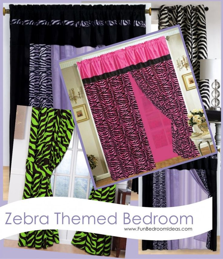 Purple Green Black White And Pink Zebra Curtains For Bedroom
