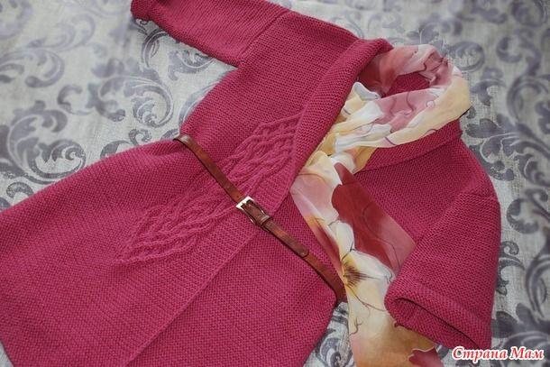 Кардиган моей мечты платочной вязкой с аранами