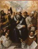 Francisco de HERRERA, dit l'ANCIEN (Séville, vers 1585 - Madrid, 1654)  Saint Basile dictant sa doctrine  1637  H. : 2,43 m. ; L. : 1,94 m.  Acquis en 1858 , 1922  M.I. 206