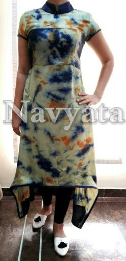 Cotton satin tie n dye kurti. For further details contact us on + 919892398900, + 919930413660