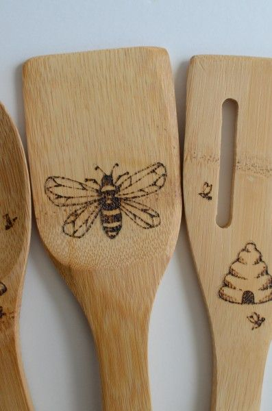 Hand burned spoons.
